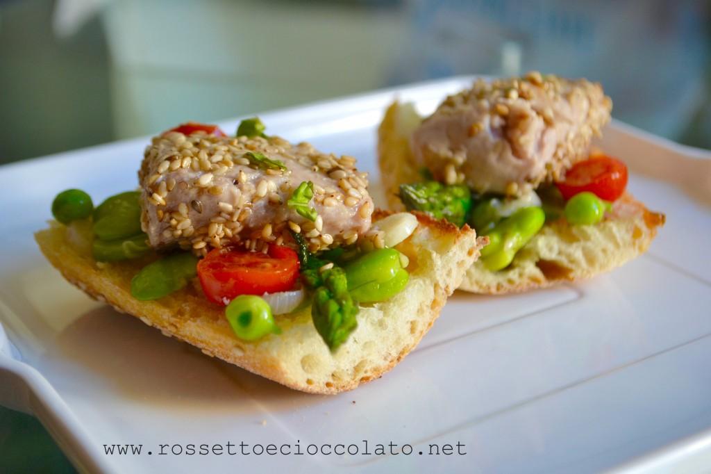 bruschetta alle verdure con palamita